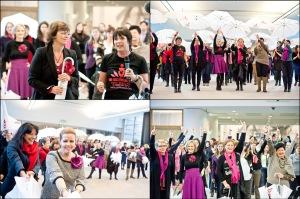 Eurodiputadas bailan para protestar contra la violencia sexual de mujeres y niñas