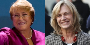 Michelle Bachelet (izq.) y Evelyn Matthei